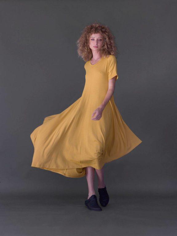 AMMA_Frühjahr_Sommer 2022 Jersey Dress yellow