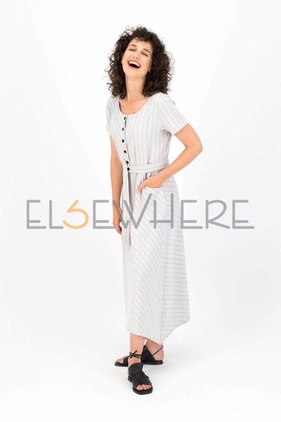 Elsewhere_Frühjahr_Sommer 2022 Dress Linen stripes