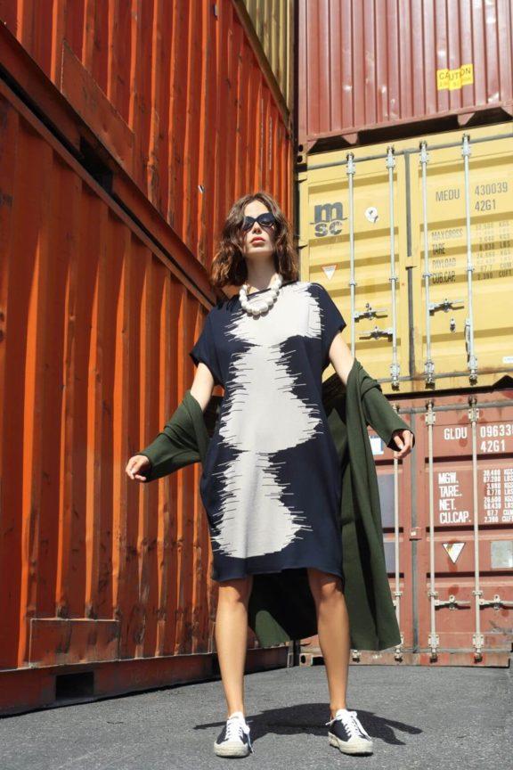 Knit Knit_Frühjahr_Sommer 2022 Knit Dress black and white