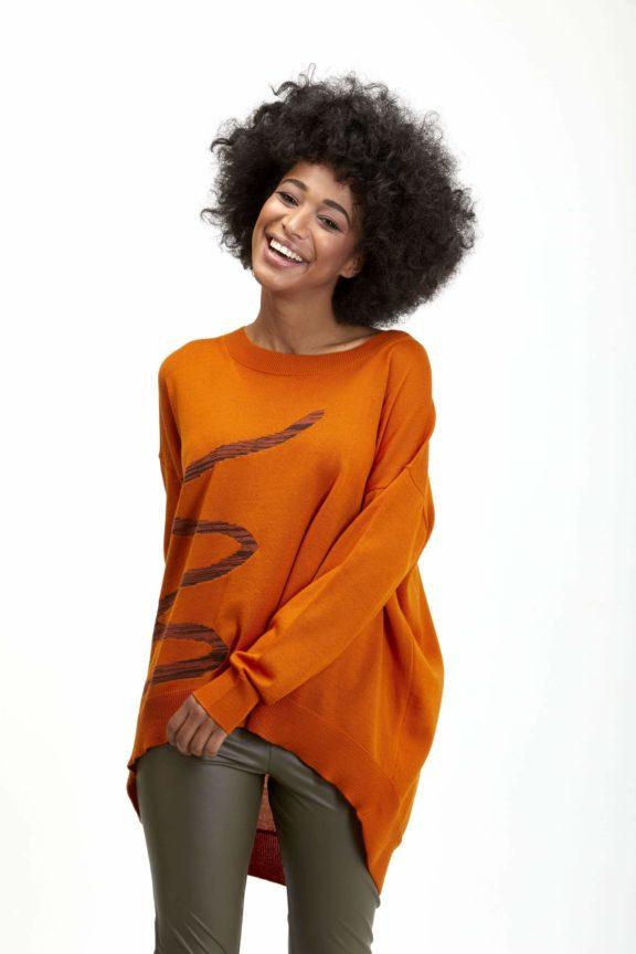 Knit Knit Herbst-Winter-Kollektion-2021 Sweater orange